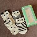 4 par una caja primavera y el verano de algodón niños panda calcetines de dibujos animados calcetines bebé niño new born calcetín