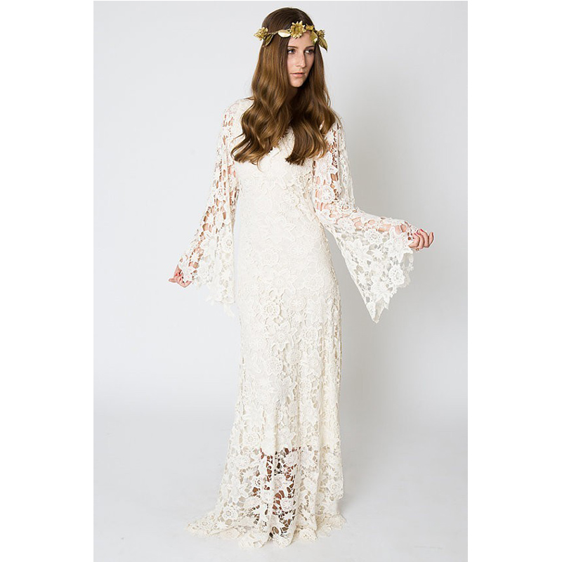 Vintage ivory lace bohemian wedding dress v neck bell for Ivory lace wedding dresses vintage
