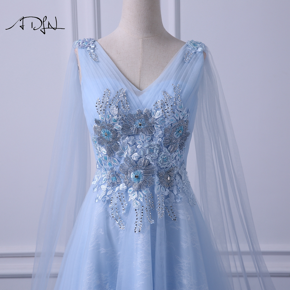 ADLN Elegant V neck Evening Dresses Long Fashionable Blue Prom Gown Dress with Watteau Train A line Formal Wedding Party Dress - 3