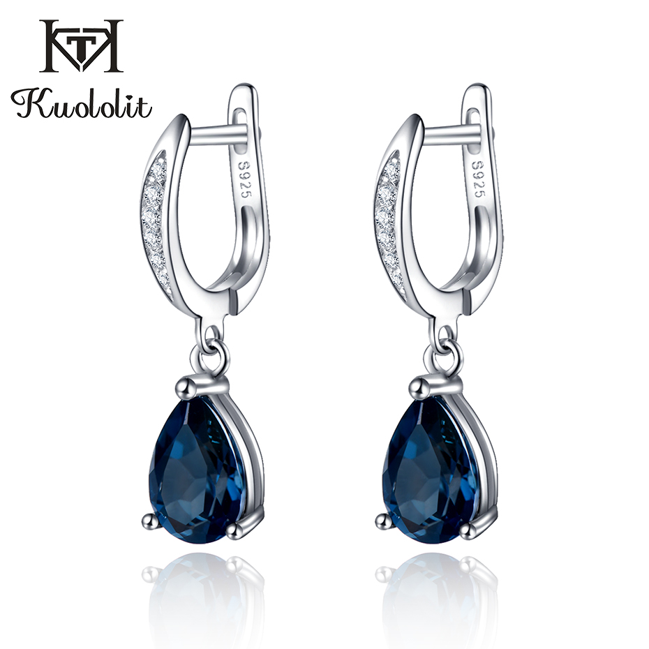 Kuololit Natural London Blue Topaz Clip Earrings for Women Solid 925 Sterling Silver Earrings Trendy Elegant Party Gift Jewelry