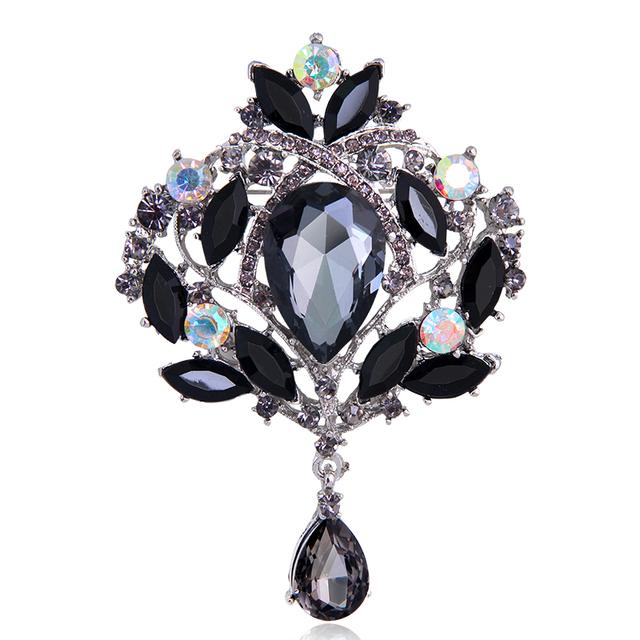 Water Drop Rhinestone Crystal Brooches