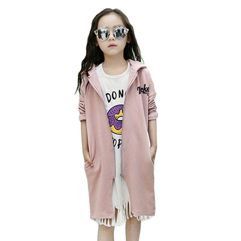 fd3794568 2016 Autumn Winter Girls Kids Hooded Coat Sport Long Jacket Feminine ...