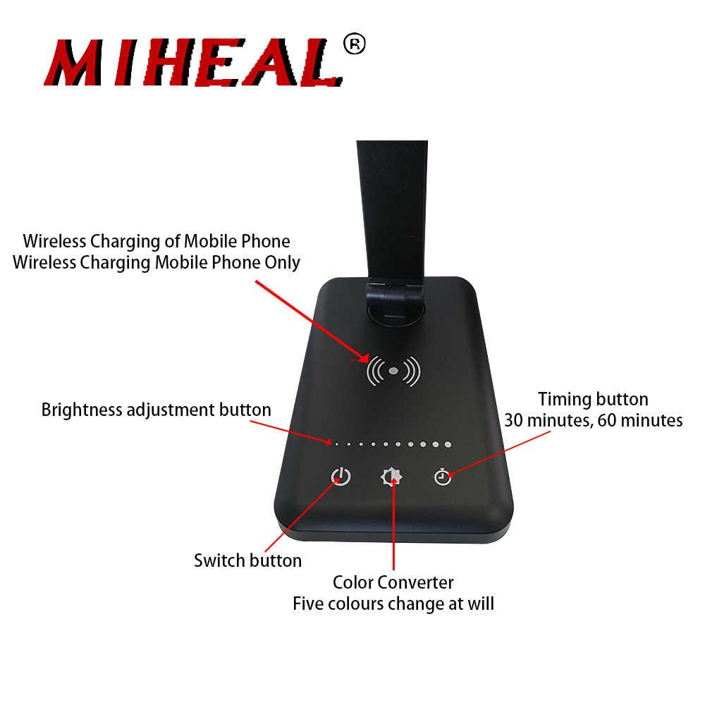 Защита Глаз Регулируемый DC 5V Светодиодный настольный настольная лампа Qi Беспроводное зарядное устройство складной для мобильных телефонов USB/Беспроводная зарядка