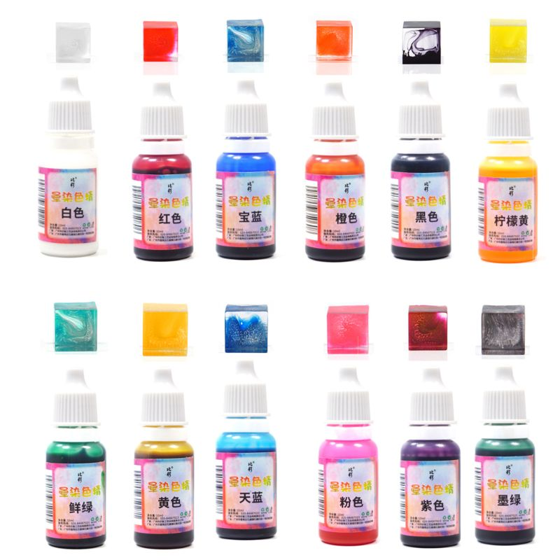 JAVRICK 1 PC 12  Colors  10ML Art Ink Natural Liquid  Pigment Colorant Dye Ink Diffusion UV Epoxy Resin Jewelry Making