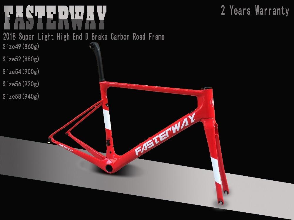 FASTERWAY Clamp Carbon-Bike-Frame:frameset Fork Classic Super-Light Full-Red Taiwan Brand