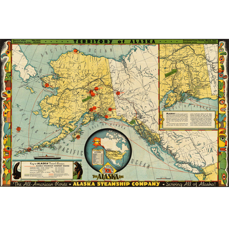 America Alaska City Map Style Canvas Paintings Wall Art Home ...
