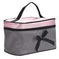 New Fashion Square Bow Stripe Portable Cosmetic Bag Travel Cosmetics Bag Trousse De Maquillage Necessaire Toiletry Kits Jan 11