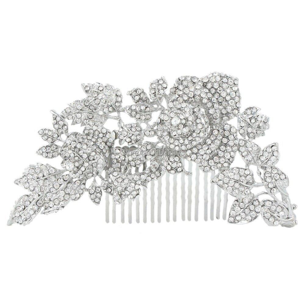Bella Fashion Vintage Style Bridal Clear Flower Rose Rhinestone Hair Comb Austrian Crystal Wedding Accessories For