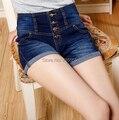 New arrival summer spring autumn denim shorts high waist casual women capris button jeans plus size female trousers lyy0505