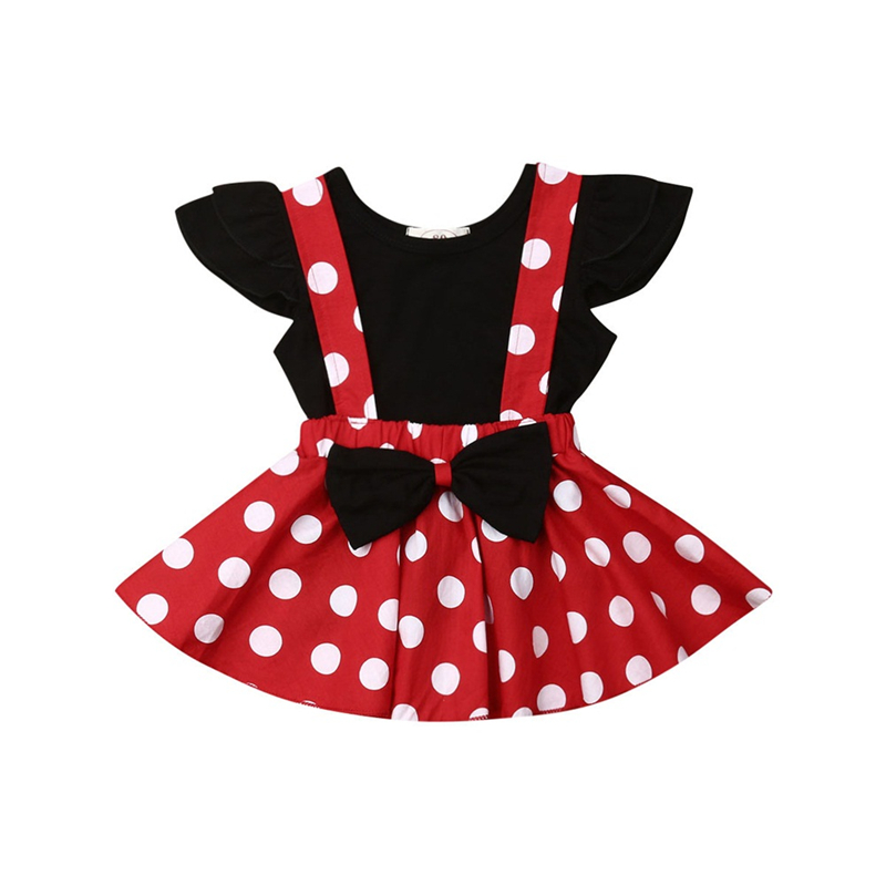 New Baby Girl Clothes Cute 2PCS Solid Ruffle T Shirt Tops Polka Dot Suspender Skirts Dress Kid Summer Clothing Adorable Set Suit