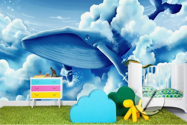 wedding background wallpaper Custom 3d modern Whale Flying 3d wall ...