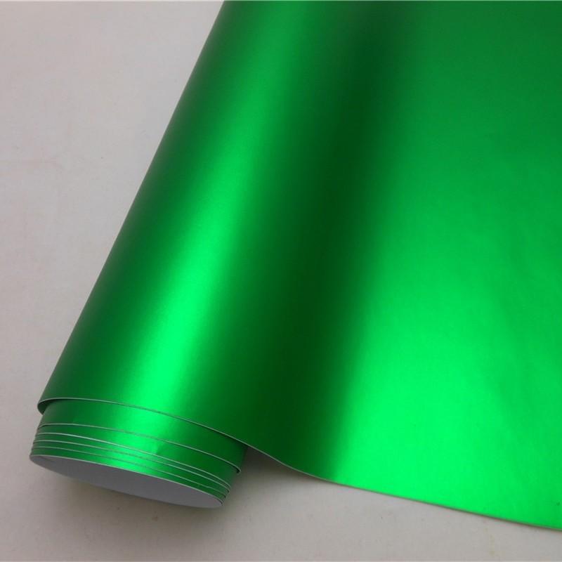 14 цветов, красный, синий, золотой, зеленый, фиолетовый матовый атлас, хром, виниловая пленка, наклейка, без пузырей, автомобильная пленка - Название цвета: Green