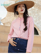 INMAN 2019 New Products Women Spring Clothes Embroider Long Sleeves Cotton And Linen Blouses Shirts Doll Collar