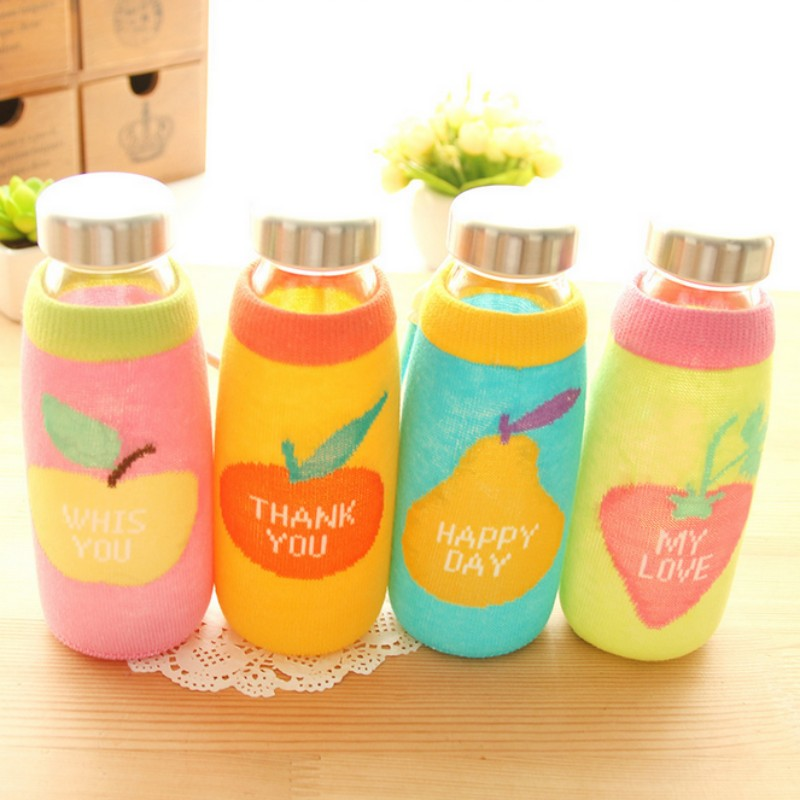 <font><b>New</b></font> 350ml knitting <font><b>cup</b></font> <font><b>cover</b></font> glass <font><b>water</b></font> bottle Outdoor <font><b>Travel</b></font> bicycle my <font><b>Sports</b></font> <font><b>Water</b></font> Bottle Fruit Juice gift <font><b>cup</b></font> Free shipping