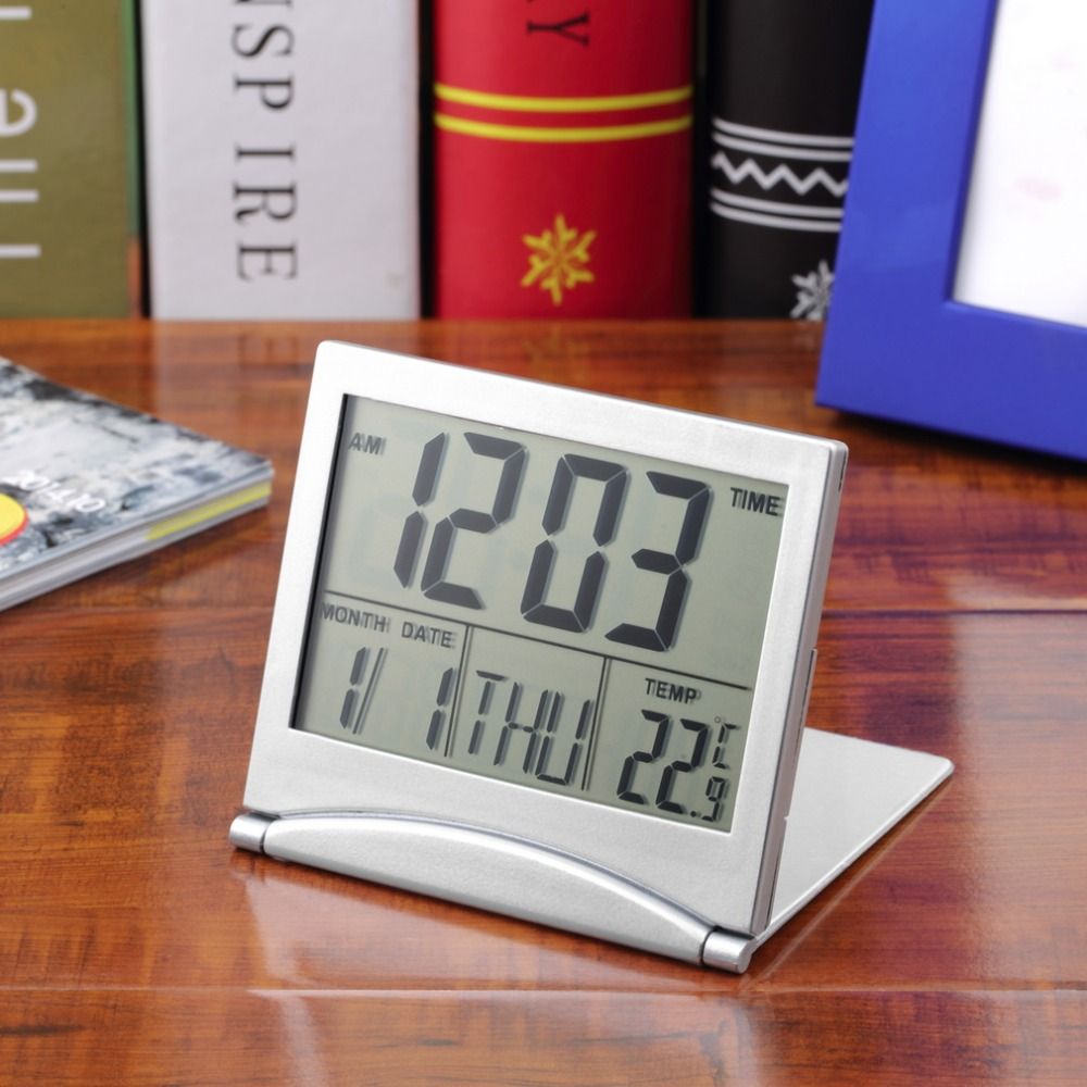 1Pcs White Calendar Alarm Clock Display Date Time Temperature Flexible mini Desk Digital LCD Thermometer Cover 87*78*12mm
