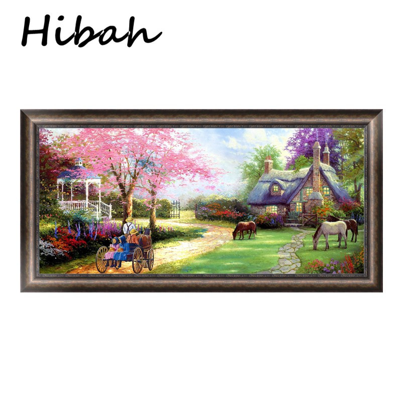 5D Round Diamond Cross Stitch Landscape Oil Painting Cottage Gift Resin Diy Mosaic Diamond Embroidery Home Decor