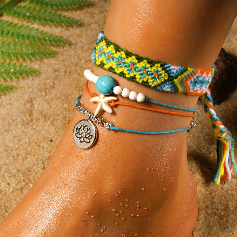 MOON GIRL Handmade Weave Bobo Lotus Anklet Set Fashion Starfish 4 Pieces Bohemian Chic Summer Bracelet ankle for Women Gift