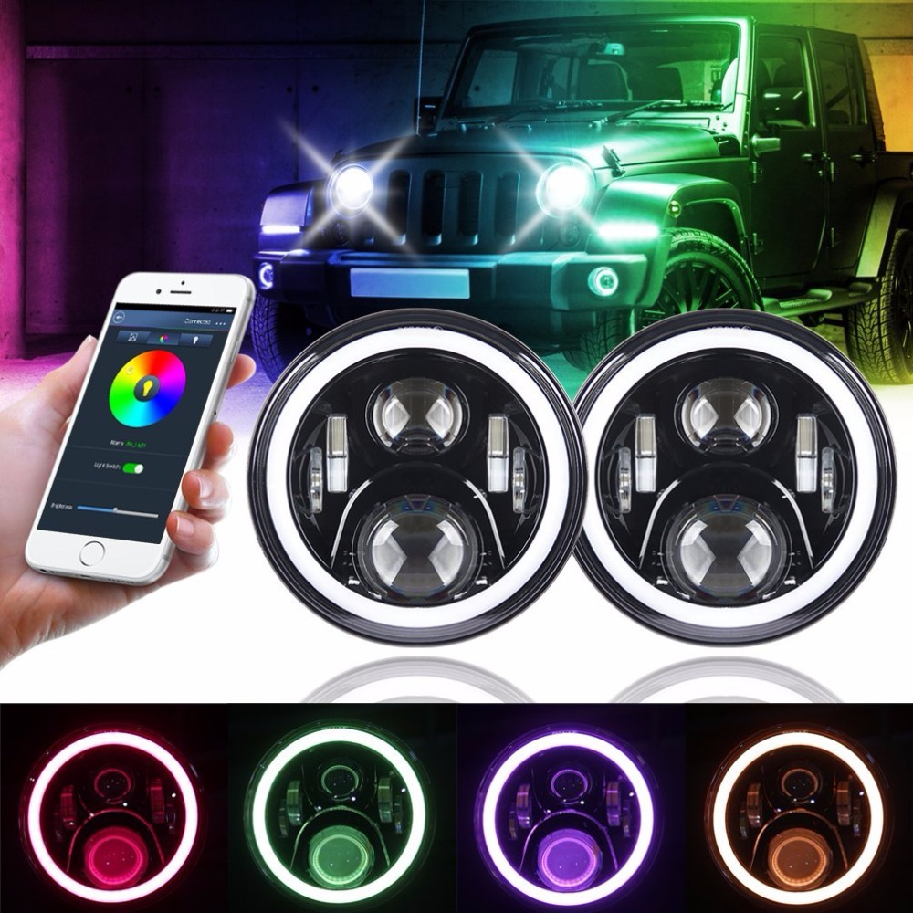 Pair 7 Inch 50W Round Black Led Headlights DRL Hi/lo Beam with RGB Halo Angel Eye by Bluetooth APP Control For Jeep Wrangler Jk 7 inch round led headlightdaymaker drl angel eye with 4 5 inch fog lights halo with 7bracket support ring for jeep