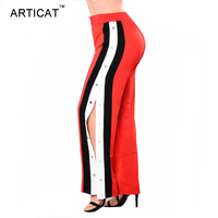 Articat צד פיצול נשים מכנסיים רגל רחבים מכנסיים גבוה מותן מסמרת נשים מכנסיים ארוכים מזדמנים קיץ סתיו רופף פס שחור מכנסיים