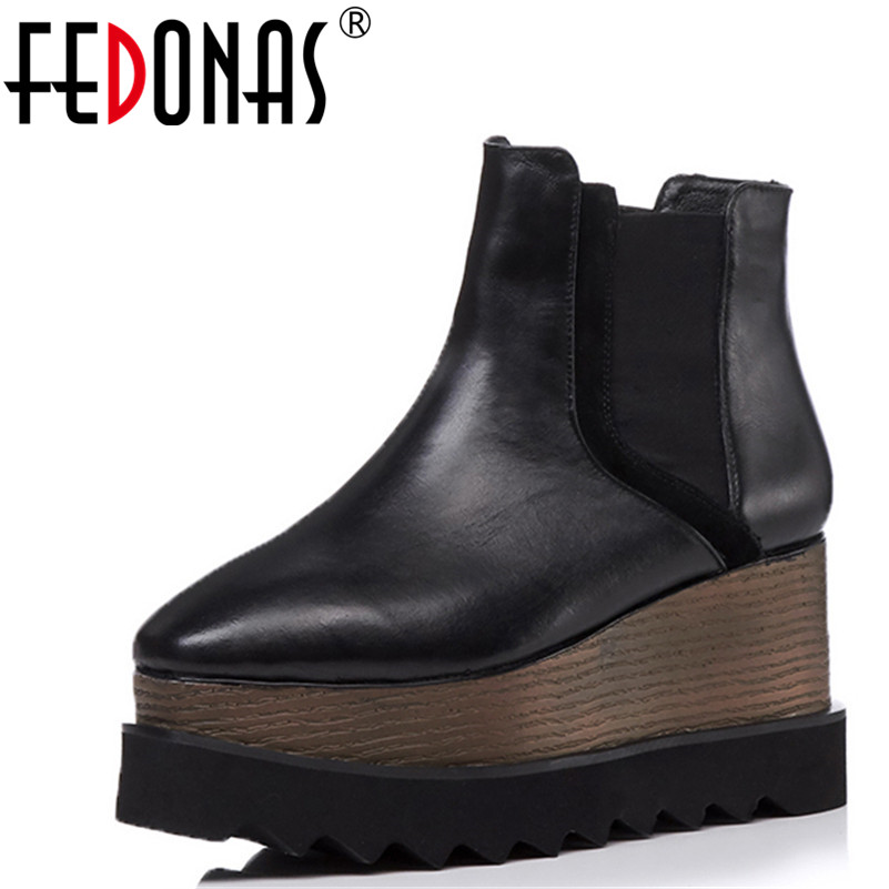 FEDONAS Sexy High Heels Shoes Woman Female Round Toe Martin Boots Thick Heel Platform Women Genuine Leather Shoes Ankle Boots cuculus 2018 women boots fashion pu leather round toe ankle boots sexy lace ladies high heels platform shoes woman 331