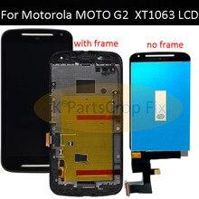 G2 lcd dla Motorola MOTO G2 LCD XT1063 XT1064 XT1068 XT1069 wyświetlacz ekran dotykowy Digitizer + rama Bezel zgromadzenie