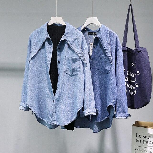 Новая корейская модная женская рубашка с треугольным воротником с длинным рукавом джинсовая рубашка повседневные Топы Кардиган Camisas casuales Джинсовая блузка