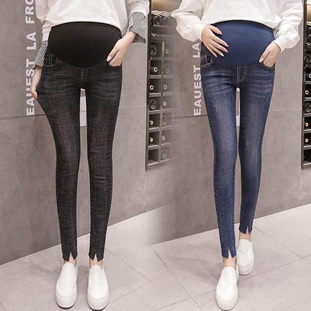 edb5527bf Jeans for Pregnant Women Maternity skinny pants Black High Waist Denim  Jeans High Elastic Stretch Pregnancy Pant Washed Jeans