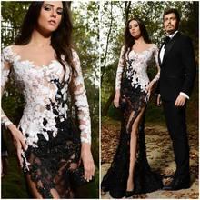 Sexy High Side Split Spitze Durchsichtig Abschlussball-kleider 2016 Bodenlangen Langarm-nixe-langes Schwarz Abendkleid F01071