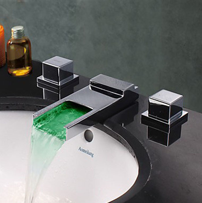 Chrome Surface Widespread LED Waterfall Bathroom Sink Faucet Dual Handle Cold And Hot Water Tap