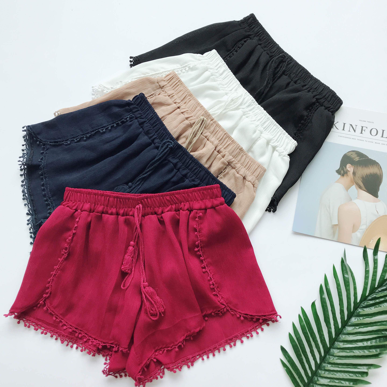 Summer Newest Style Fashion Vintage Elastic High Waist Female Chiffon   Shorts   Women Casual   Shorts   Boho Beach Trousers girls   Short