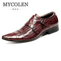 MYCOLEN/итальянская мужская обувь из натуральной кожи с двойным ремешком; черные роскошные свадебные деловые мужские модельные туфли; Herrenschuhe