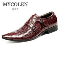 MYCOLEN Italian Men Shoes Genuine Leather Double Monk Strap Black Luxury Wedding Business Male Dress Shoes Herrenschuhe