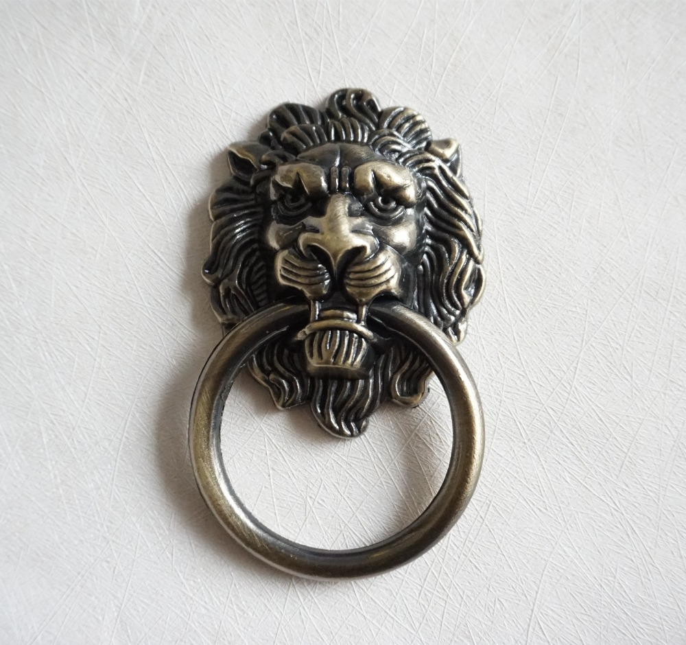 Large Lion Drawer Knobs Dresser Drop Pulls Rings / Antique Bronze Lion Head Door Handle Cabinet Handle furniture Hardware 4 25 dresser pulls drawer pull handles antique bronze bail cabinet pulls handle knobs furniture door hardware drop swing 108mm