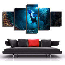HD Printed Painting Home Decor Poster Framework 5 Panel Diver Bottom Of The Sea Landscape Modern Wall Art Pictures Living Room