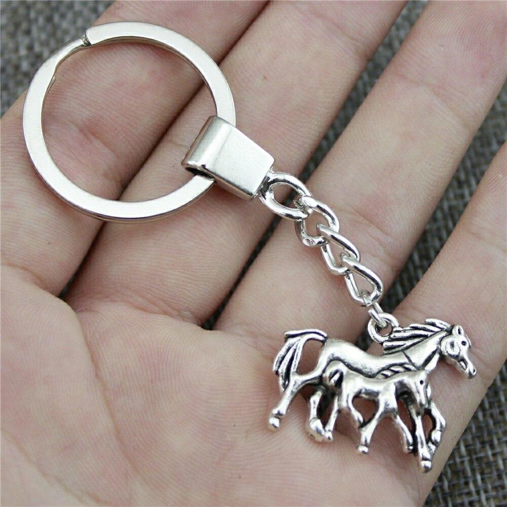 Брелок лошадь мать и детский брелок для ключей 28x23 мм античная бронза старинное серебро лошадки для мамы и ребенка цепочка для ключей Вечерн...