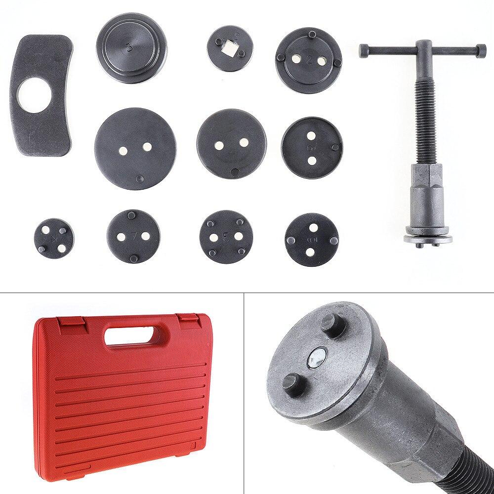12 unids/set de coche Universal de pinza de freno de disco de viento de freno trasero compresor de pistón conjunto de herramientas de reparación Kit para la mayoría de los automóviles de garaje
