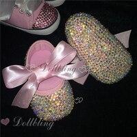 استحى الوردي riband ab كريستال جوهرة الباليه يتل خادمة sapatos حورية عيد التعميد 0-1 أميرة الطفل الأولى الأحذية