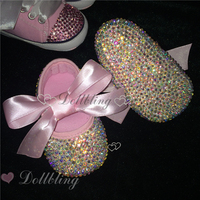 Blush Pink Riband AB Crystal GEM Ballet Liitle Maid Sapatos Fairy Baptism 1st Birthday 0 1
