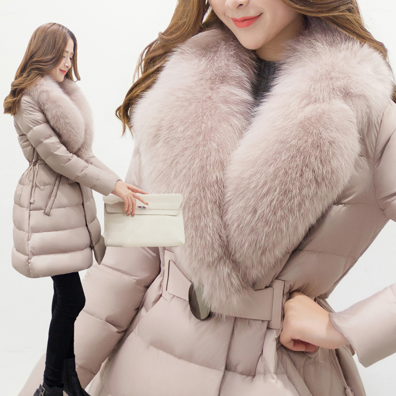 2017 Winter Women's Coat New Big Fox Fur Down Cotton Clothes Fashion Han Edition Long - Style Thick Coat  Waist Show Coat 2017 winter new clothes to overcome the coat of women in the long reed rabbit hair fur fur coat fox raccoon fur collar