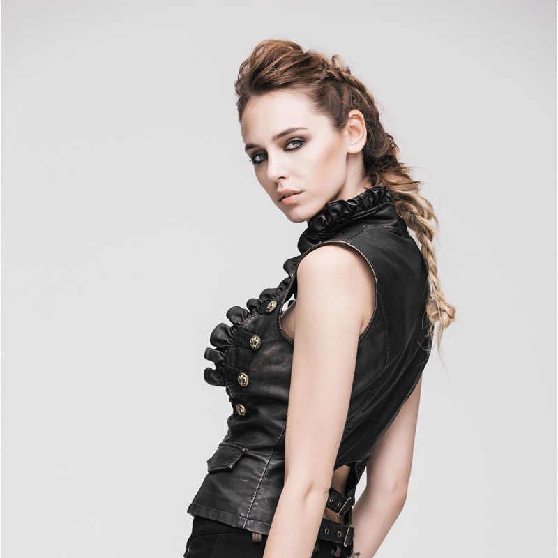 Женские кожаные жилетки в стиле панк, готический Приталенный жилет с цветными кисточками, жилет без рукавов в викторианском стиле