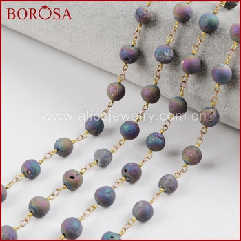 BOROSA New Arrival 8mm Round Rainbow Agates Titanium Druzy Beaded Chains Brass Chain for Necklace Drusy Jewelry Making JT202