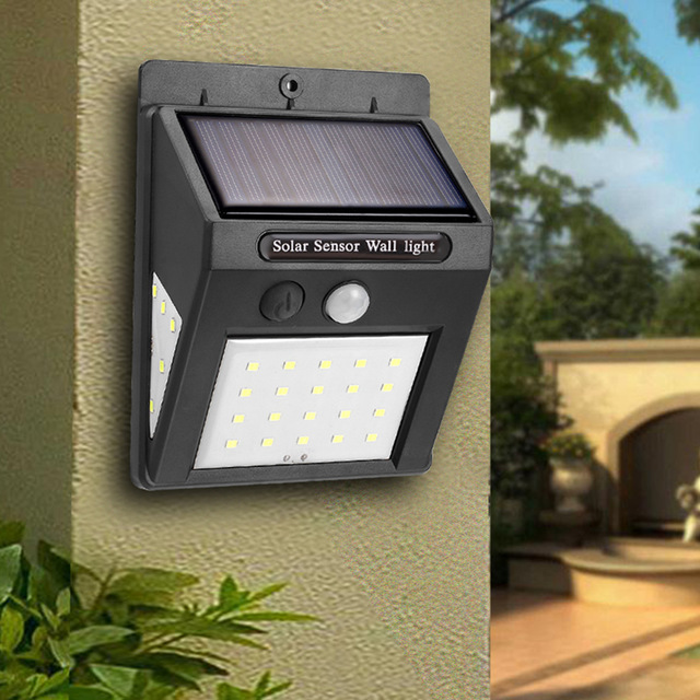 20/30LEDS Solar Rechargeable LED Solar Light Bulb Outdoor LED Street Light Garden Lamp Decoration PIR Motion Sensor Wall Light