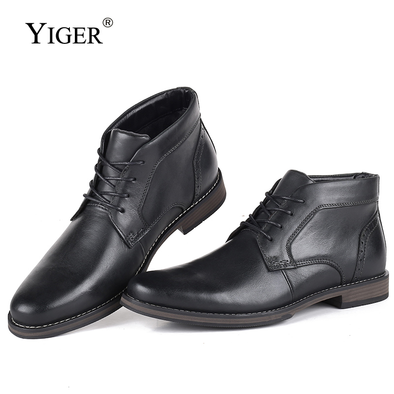 YIGER New Men Martins Boots Genuine Leather Winter With Fur Big Size Men Ankle Boots Male Casual Lace-up High-top Shoes  0250