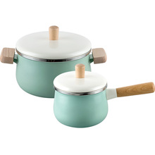 1.8L/3.3L Enamel Soup Pot Mini Milk Pot Saucepan Non-stick Cooking Pan With Lid Kitchen Cookware For Induction Cooker Gas Stove classic country french soup pot with lid