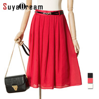 Women Silk Pleated Skirt Knee Length 100 Real Silk Solid Empire Skirts 2017 Spring Summer New