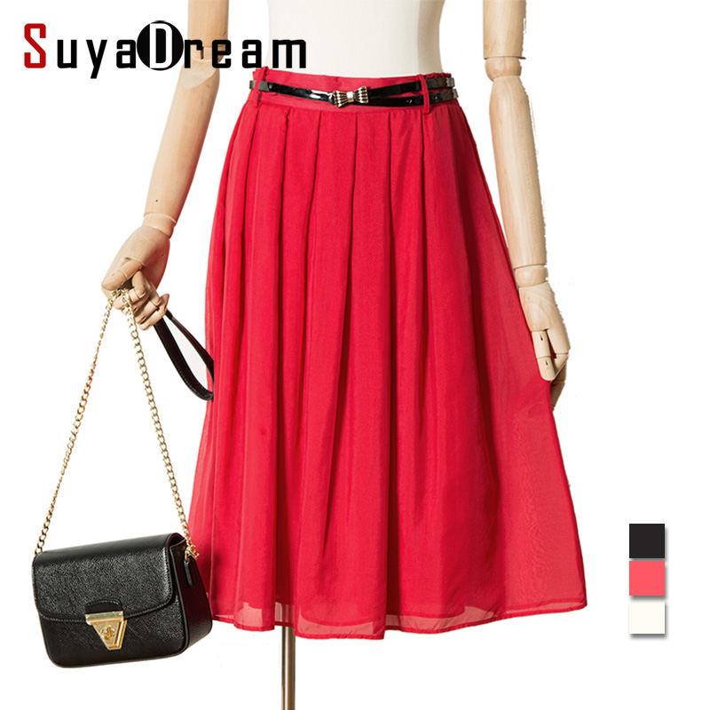 Women Silk Pleated skirt Knee length 100%Real Silk Solid Empire Skirts 2017 Spring Summer New RED BLACK WHITE