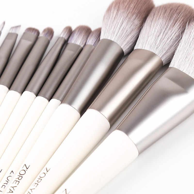 Zoreya Marca Macio Cabelo Sintético Sombra de Olho Escova Alça Branca Highlighter Blending Blush Em Pó Lip Makeup Brushes Set 10 pcs