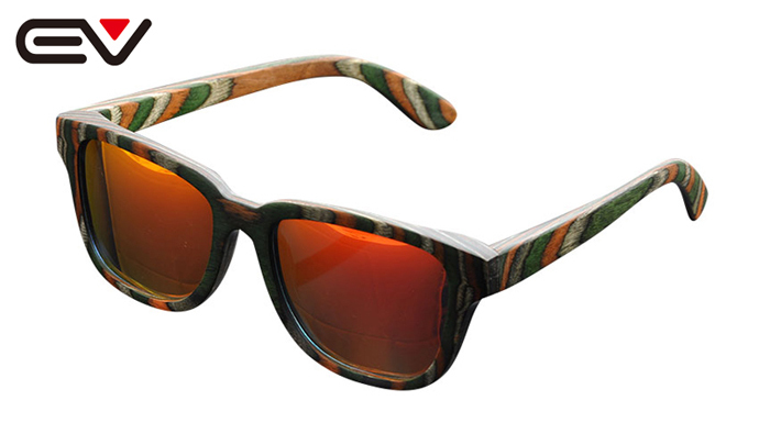 EV Natural Wood Frame Green Multicolored wood Sun glasses For Women Gafas