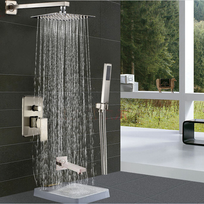 Brushed Nickel 10 Rainfall Showerhead Bathroom Tub Shower Faucet with Hand Shower Single Handle