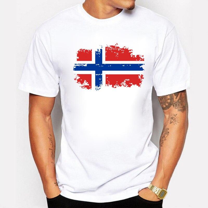BLWHSA Fashion European Norway National Flag Design   T     shirts   For Men 100% Cotton Short Top & Tee Nostalgic Amazing   T  -  shirt   Men